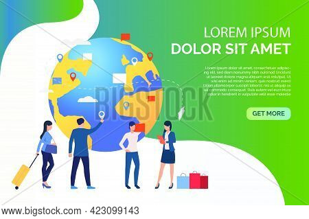 Slide People With Globe And Travelling Business People Vector Illustration. Business Travel, Navigat