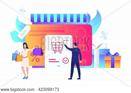 Store With Credit Card, Gift Boxes, Buyers Vector Illustration. Purchase, Sale, E-commerce. Shopping
