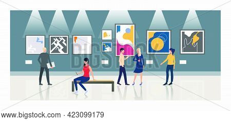 Tourists Looking At Paintings In Art Gallery Vector Illustration. Modern Art, Museum, Exposition. Ar