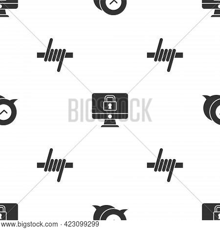 Set Check Mark In Speech Bubble, Lock On Monitor And Barbed Wire On Seamless Pattern. Vector