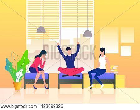 Colleagues Having Break In Lounge. Students, Friends, Coworkers. Meeting Concept. Vector Illustratio