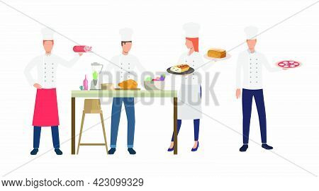 Cooks Cooking Dishes In Restaurant Kitchen. Dinner, Cuisine, Food Concept. Vector Illustration Can B