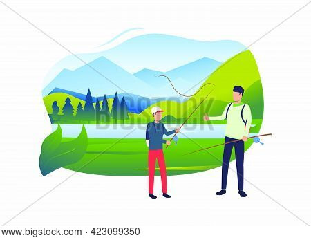 Dad And Son Holding Fishing Rods, Landscape With Lake. Holiday, Tourism, Summer Concept. Vector Illu