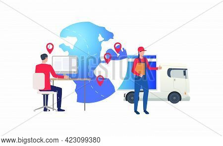 Earth Globe With Pointers, Truck And Logistics Expert. Transportation, Vehicle, Freight Concept. Vec