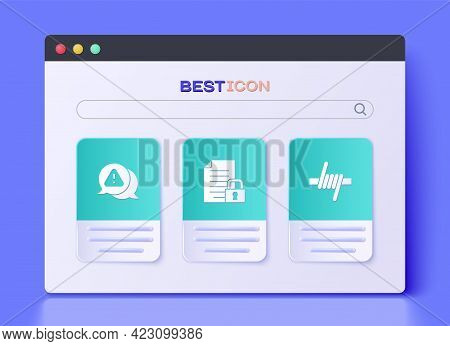 Set Document And Lock, Exclamation Mark In Triangle And Barbed Wire Icon. Vector