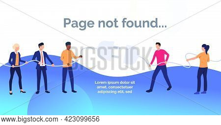 Not Found Slide Template Presentation.business People Cannot Push Plug Into Socket. Disconnection, P