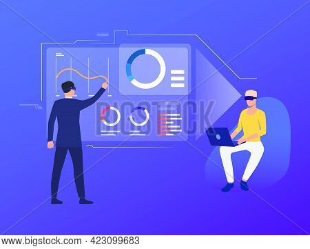 People Analyzing Financial Charts In Virtual Interface. Future, Vr, Cyberspace Concept. Vector Illus
