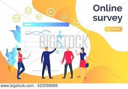 People Answering Online Survey. Computer, Poll, Online Test. Online Survey Concept. Vector Illustrat