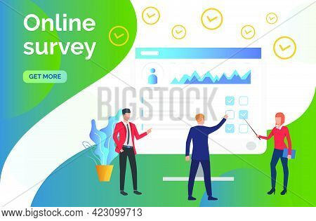 People At Computer Monitor With Survey. Online Test, Coaching, E-learning. Online Survey Concept. Ve