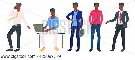Set Of Black Entrepreneurs Leading Business. Flat Cartoon Men Planning Work. Vector Illustration Can