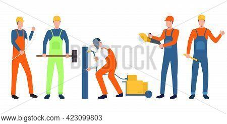 Set Of Builders, Electrician, Welder And Handymen Working. Group Of Men Wearing Uniform And Holding