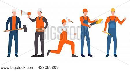 Set Of Builders, Foreman And Handymen Working. Group Of Men Wearing Uniform And Holding Tools. Vecto