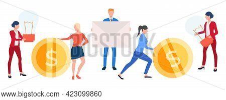 Set Of Creative Business People. Vector Illustration Of Entrepreneurs Holding Coin, Envelope And Lig
