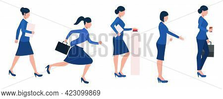 Set Of Female Entrepreneurs Busy With Different Activities. Bundle Of Businesswoman Building Career.