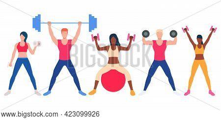 Set Of Multiethnic People With Weights. Fitness Characters With Heavy Equipment. Vector Illustration
