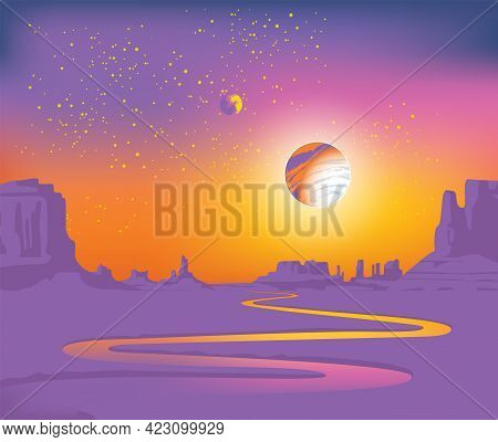 Vector Landscape Of An Alien Planet With A Deserted Valley, A Winding River, Rocks And A View Of Two