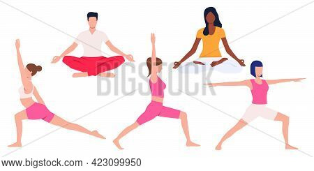 Set Of People Practicing Yoga. Calm Young People Meditating And Doing Balance Exercises. Vector Illu