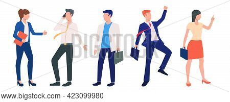 Set Of Successful Business Executives. Group Of Excited Business People Concluding Deals And Celebra