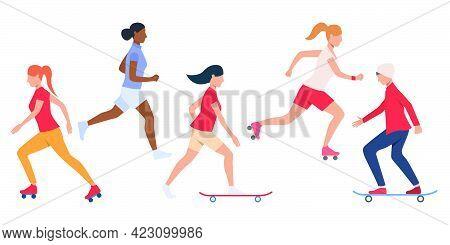 Set Of Teens Skateboarding And Rollerblading. Multiethnic Girls And Boy Doing Outdoor Activities. Ve