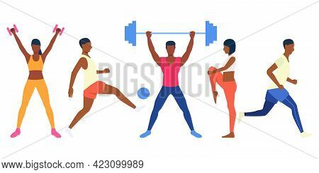 Set Of Tough People Training With Sports Equipment. Male And Female Athletes In Various Positions. V