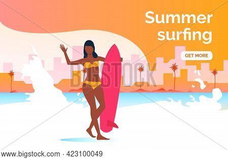 Summer Surfing Get More Presentation Slide Template. Dark Skinned Girl With Surfboard Standing On Be