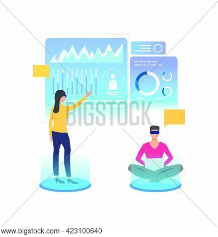 People Wearing Vr Glasses And Working In Virtual Interface. Future, Vr, Cyberspace Concept. Vector I