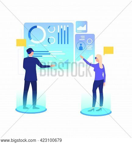 People Working And Tapping On Futuristic Virtual Screens. Future, Vr, Cyberspace Concept. Vector Ill