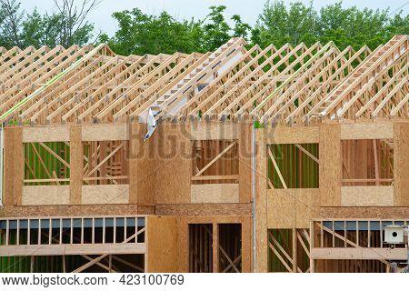 Wall And Rafters Of A Plywood House New Workplank Frame Wokr