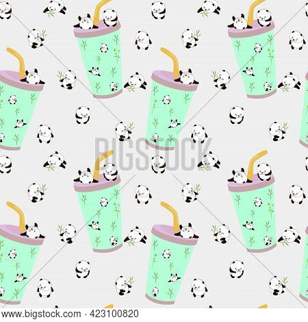 Cute Panda. Cute Animal. Super Cute Cartoon Panda. Seamless Pattern With Paper Glass And Chines Pand