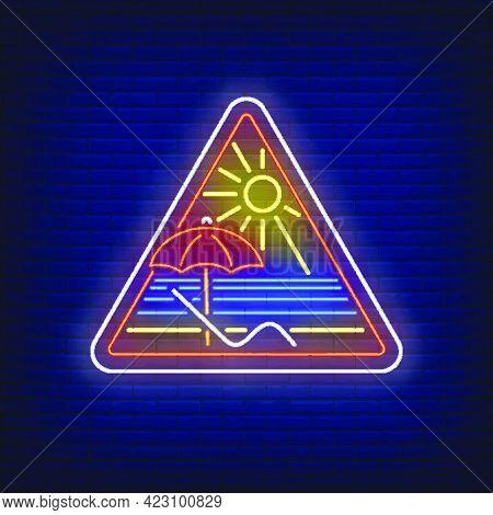 Beach Resort Neon Sign. Lounge, Umbrella, Sun, Sea. Vector Illustration In Neon Style For Light Bann