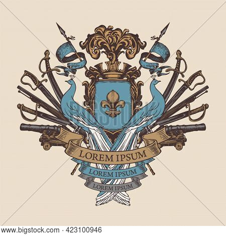 Medieval Hand-drawn Coat Of Arms With Blue Peacocks, Knightly Shield, Spears, Flags, Sabers, Swords,