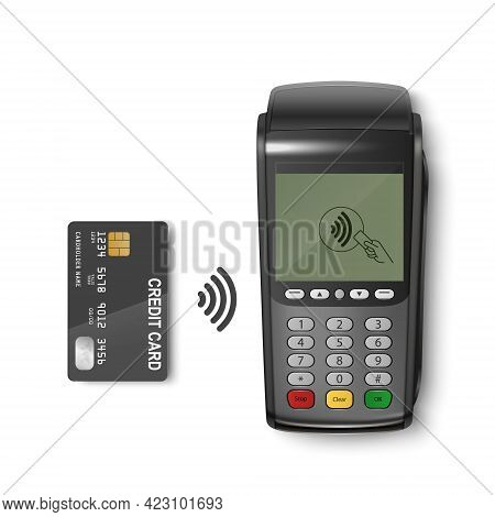 Vector 3d Realistic Black Wi-fi Payment Machine And Credit Card. Pos Terminal Isolated. Design Templ