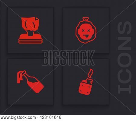 Set Lighter, Kidnaping, Murder And Cocktail Molotov Icon. Vector