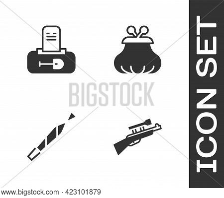 Set Sniper Rifle With Scope, Grave Tombstone, Marijuana Joint And Wallet Icon. Vector