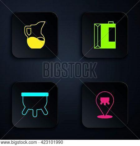 Set Udder, Milk Jug Or Pitcher, And Paper Package For Kefir. Black Square Button. Vector