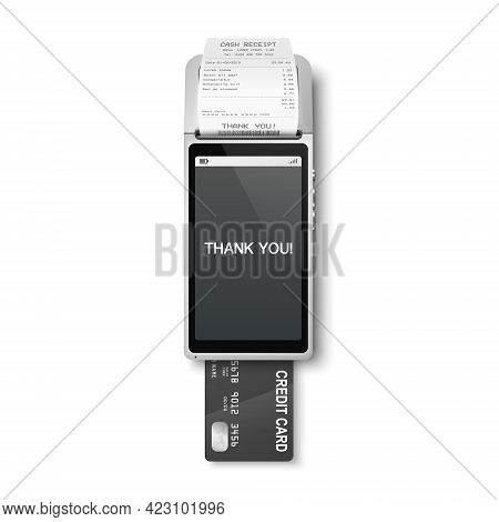 Vector 3d Realistic Gray Silver Payment Machine. Pos Terminal, Paper Receipt, Black Credit Card Isol