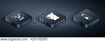 Set Isometric Cow Head, Bottle With Milk And Milk Jug Or Pitcher Icon. Vector