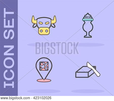 Set Butter In A Butter Dish, Cow Head, Cheese And Milkshake Icon. Vector