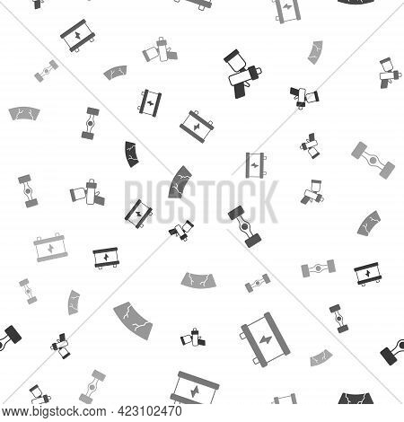 Set Paint Spray Gun, Car Battery, Chassis Car And Broken Windshield On Seamless Pattern. Vector
