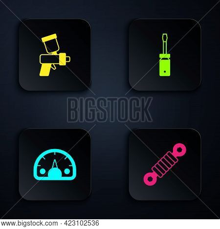 Set Shock Absorber, Paint Spray Gun, Speedometer And Screwdriver. Black Square Button. Vector