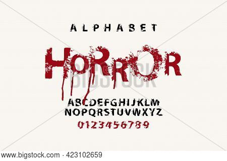Horror Lettering In Awful Dripping Bloody Letters. Splattered Alphabet, Vector Set Of Alphabet Lette