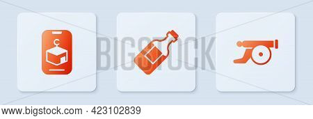 Set Bottle Of Water, Star And Crescent And Ramadan Cannon. White Square Button. Vector