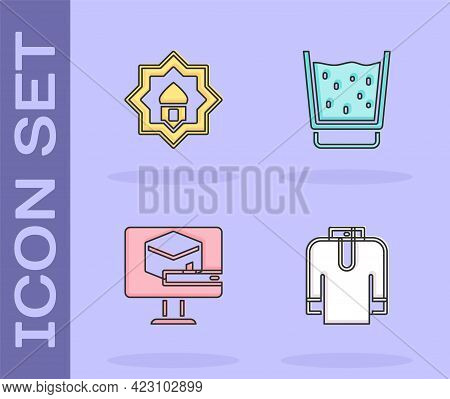 Set Shirt Kurta, Muslim Mosque, Kaaba Mosque And Glass With Water Icon. Vector