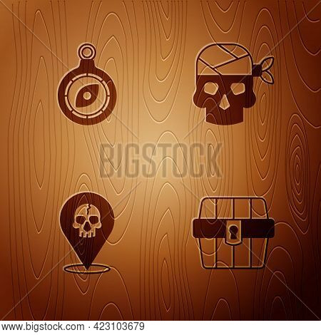 Set Antique Treasure Chest, Compass, Location Pirate And Pirate Captain On Wooden Background. Vector