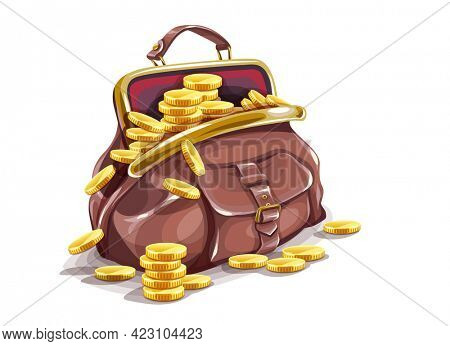 Retro purse. Bag with handle. Open full bag with gold coins inside. Isolated cartoon stock graphics. 3D illustration.