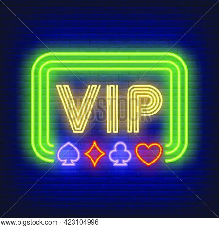 Vip Neon Text In Frame With Playing Card Suits. Gambling And Poker Club Design. Night Bright Neon Si