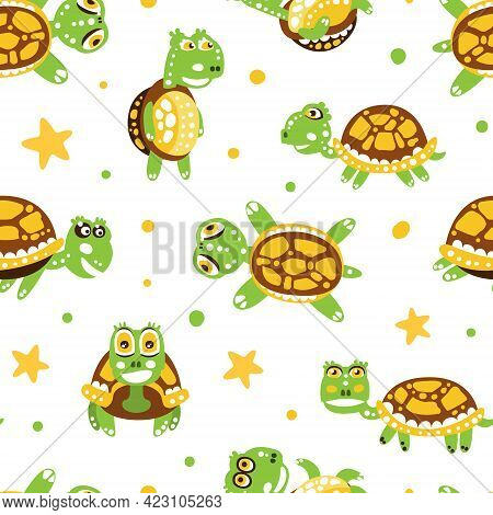 Happy Green Turtle With Shell Vector Seamless Pattern