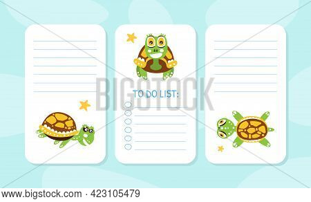 To Do List Cards With Happy Green Turtle With Shell Vector Illustration