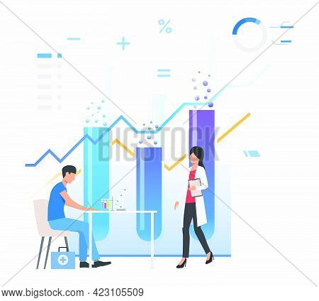 Chemist And Assistant Working In Lab Against Tubes And Charts Vector Illustration. Medicine, Pharmac