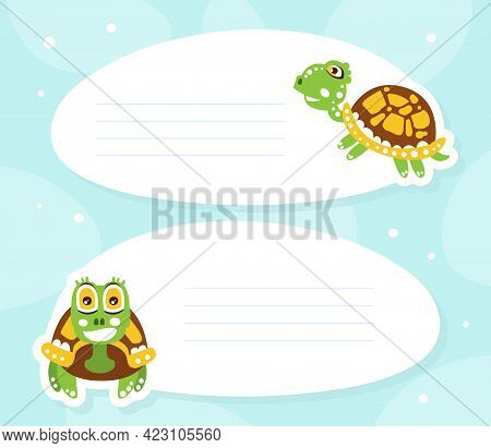 Lined Card With Happy Green Turtle With Shell Vector Illustration
